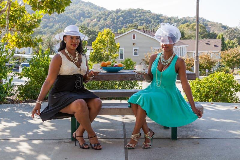 Zwei Damen ganz oben gekleidet am Park lizenzfreies stockfoto
