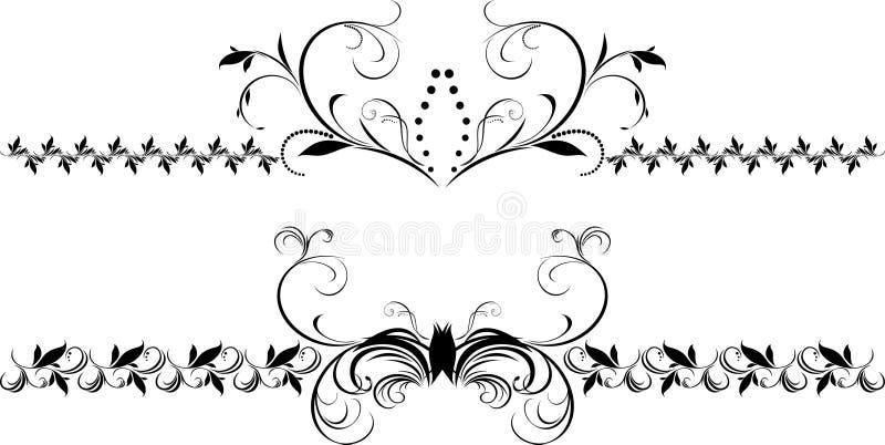 Zwei dekorative Blumenränder für Auslegung stock abbildung