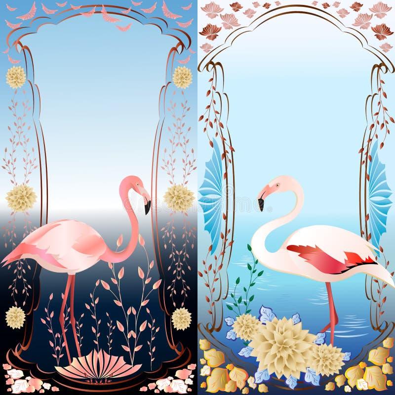 Zwei dekorative Rahmen mit Flamingo lizenzfreie stockfotografie