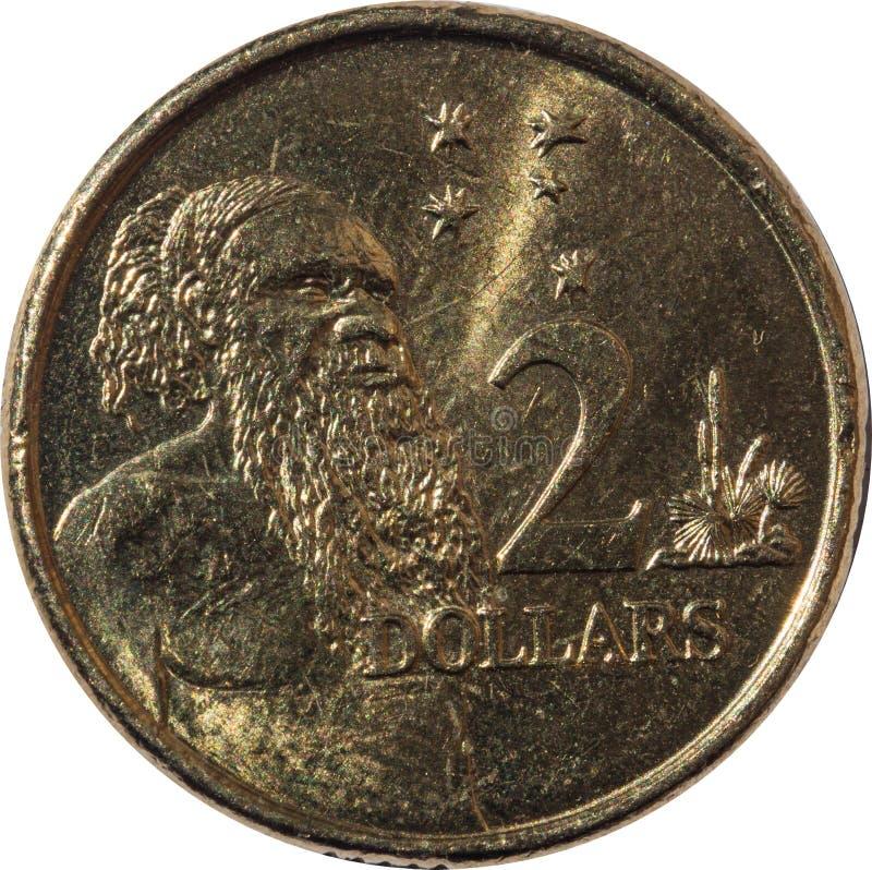 Zwei-Dollar-australischer Kupfermünze Australier eingeboren stockbilder