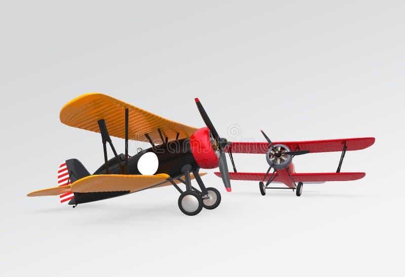 Zwei Doppeldecker, die in den Himmel fliegen lizenzfreies stockfoto