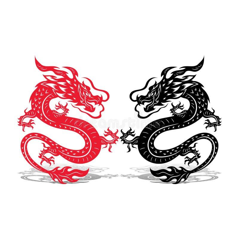 Zwei Drachen schwarz und rot, Kampf, auf weißem Hintergrund, stockbild