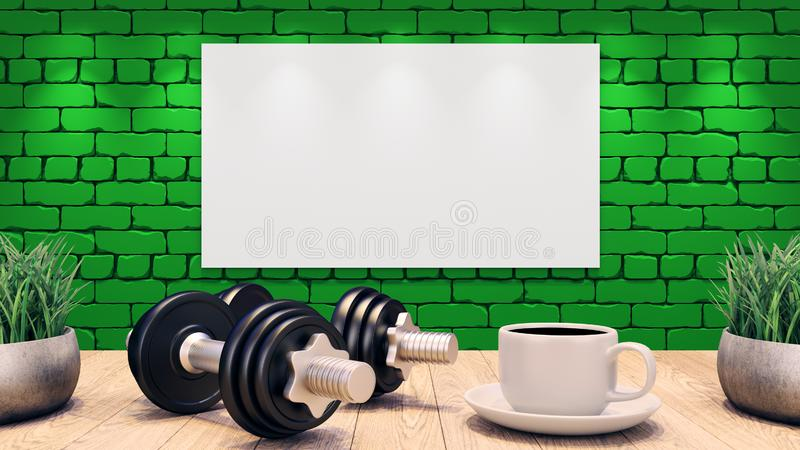 Zwei Dummköpfe und ein Tasse Kaffee auf einem Holztisch Trainingsschablone Grüne Backsteinmauer Abbildung 3D lizenzfreie abbildung