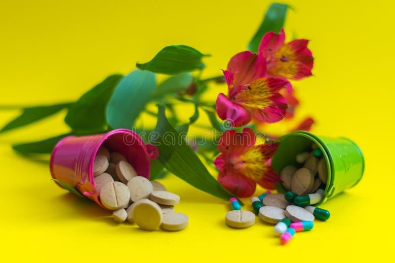 Zwei Eimer voll Pillen mit Blumen stockfotografie