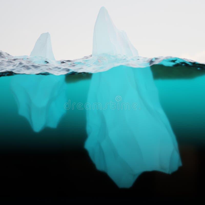 Zwei Eisberge auf Wasseroberfläche lizenzfreie stockfotos