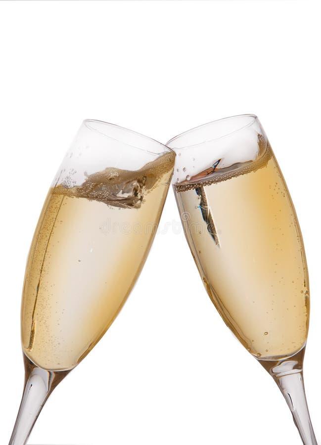 Zwei elegante Champagnergläser lizenzfreies stockfoto