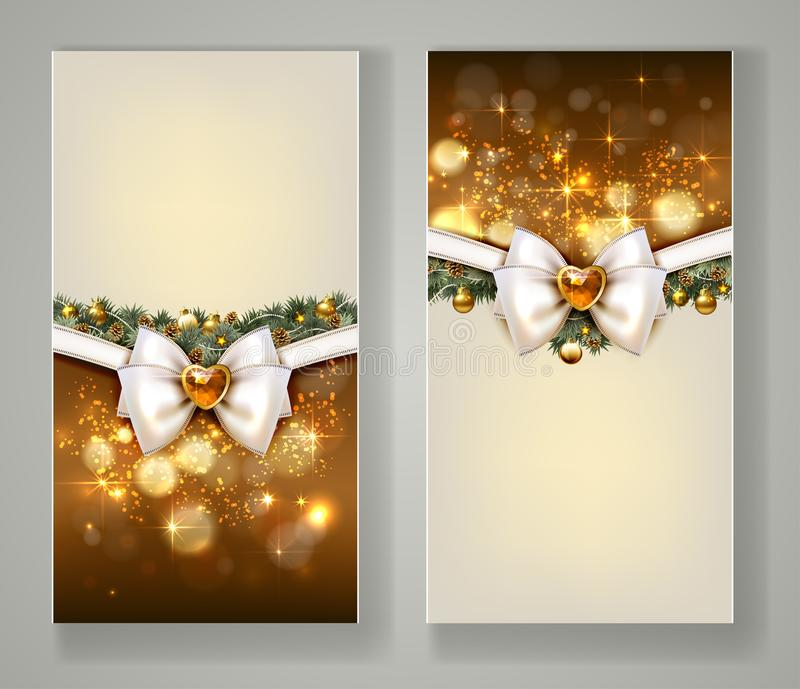 Zwei elegante Weihnachtsgrußkarten mit Bogen und Schmuck lizenzfreie abbildung
