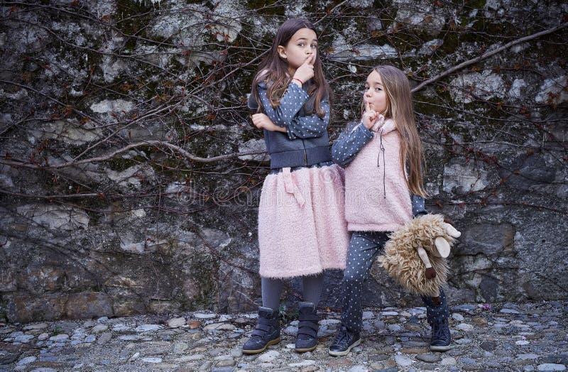 Zwei emotionale Mädchen, die auf grauem Felsenhintergrund aufwerfen stockfotografie