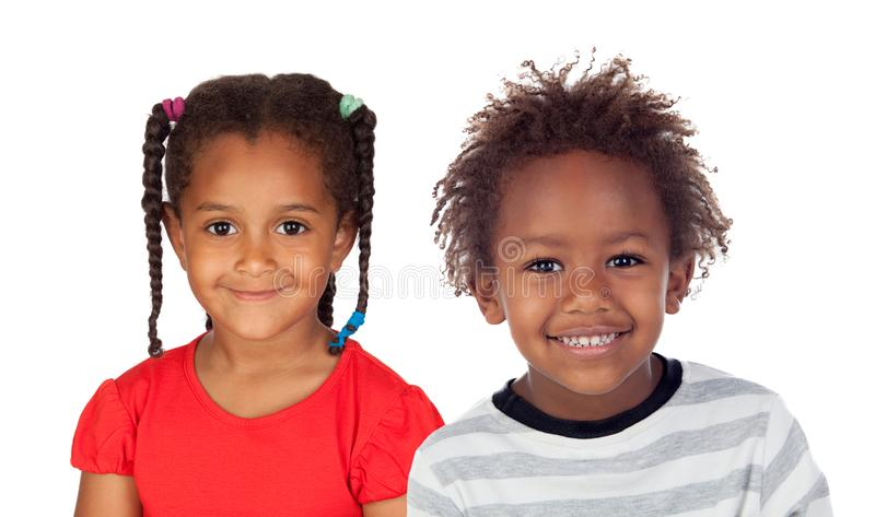 Zwei entzückende afrikanische Kinder stockfotografie