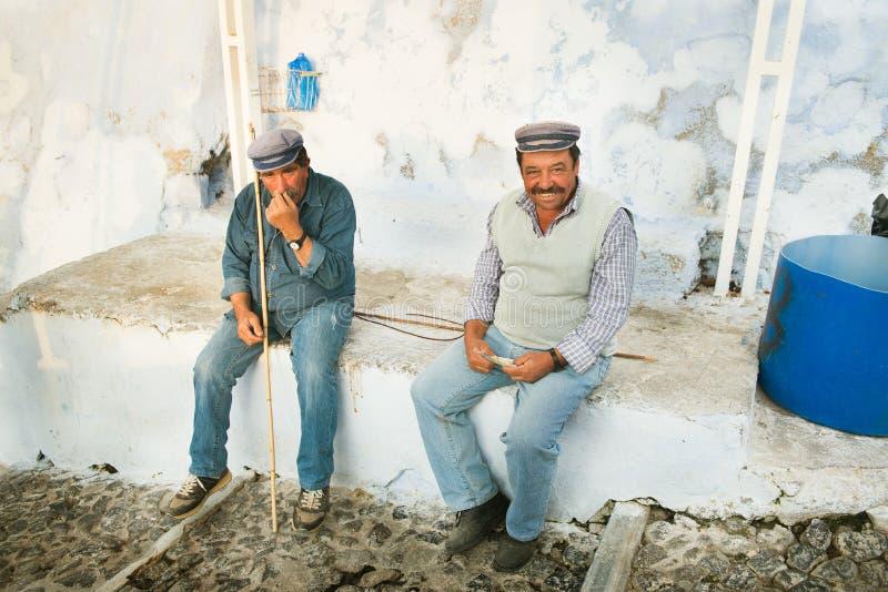 Zwei Eselmänner in Fira, Santorini, Griechenland lizenzfreie stockfotografie