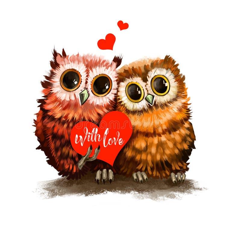 Zwei Eulenliebhaber mit Herzen Lustige Vögel mit Karte Romantisches Feiertagsplakat, Grußkarte Für Einladungsposter lizenzfreie abbildung