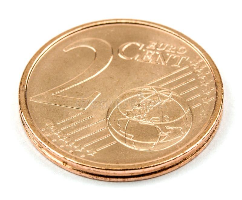 Zwei-Eurocent-Münze lokalisiert auf weißem Hintergrund stockfotografie