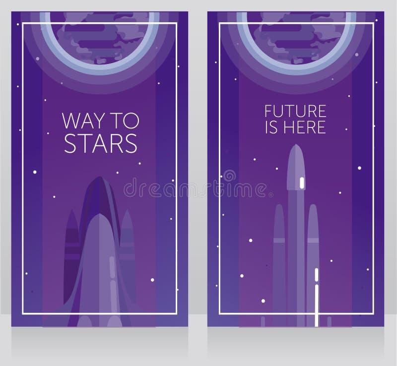 Zwei Fahnen für Raumfahrt mit der Raumfähre und Falken schwer vektor abbildung