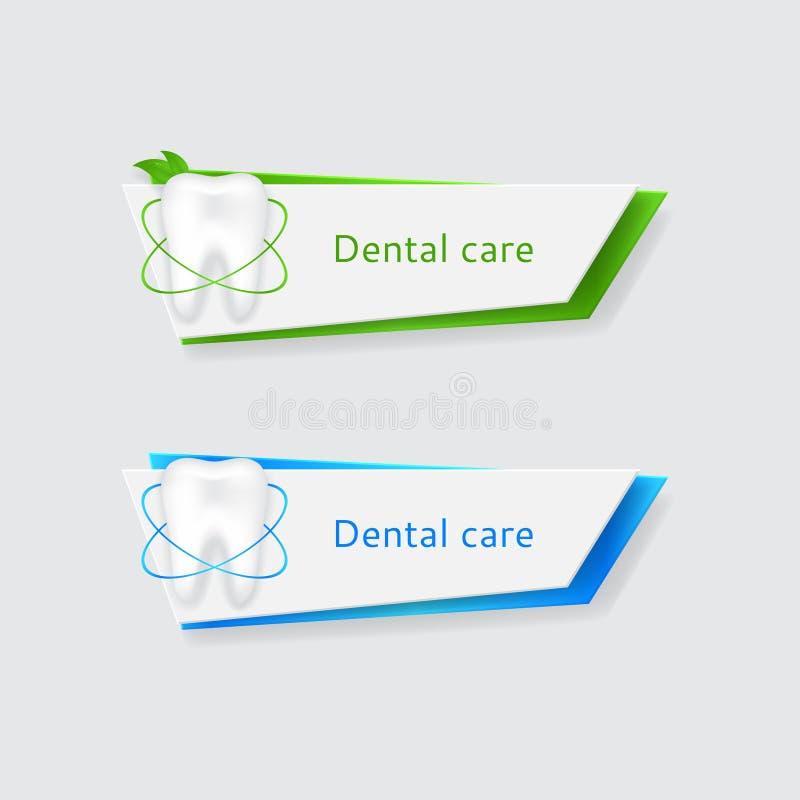 Zwei Fahnen mit dem zahnmedizinischen Schützen stock abbildung