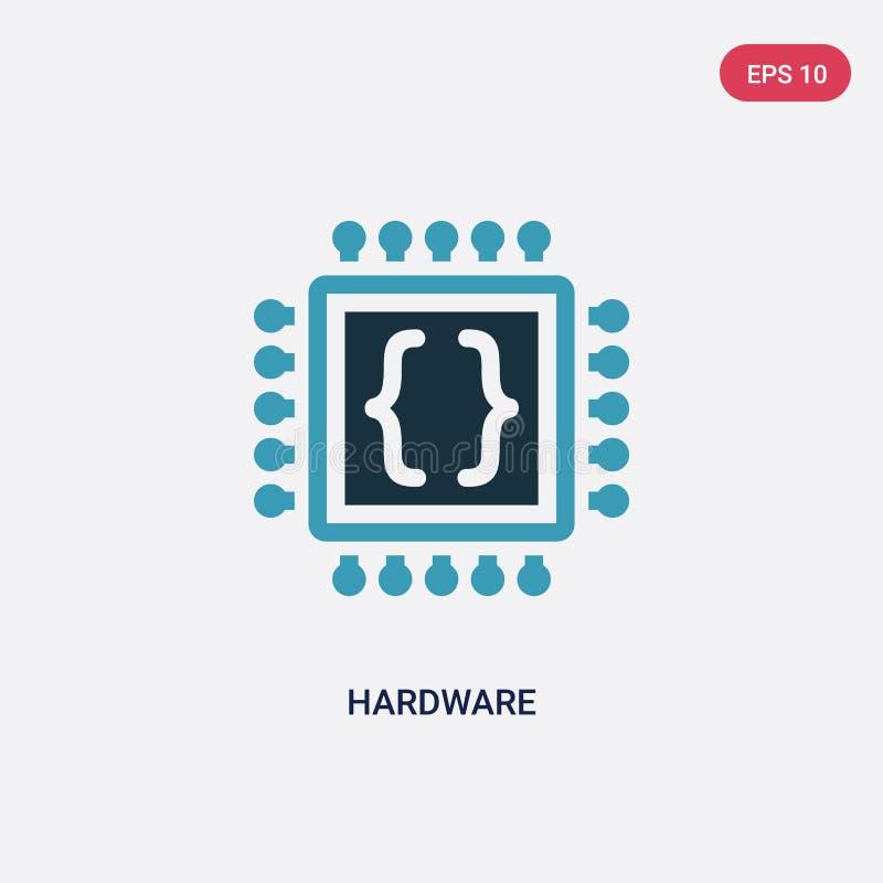 Zwei Farb-Hardware-Vektorikone von Programmierungskonzept lokalisiertes blaues Hardware-Vektorzeichensymbol kann der Gebrauch für lizenzfreie abbildung