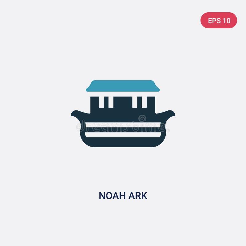 Zwei Farb-Noah-Archevektorikone vom Religionskonzept lokalisiertes blaues Noah-Archevektor-Zeichensymbol kann der Gebrauch für Ne vektor abbildung