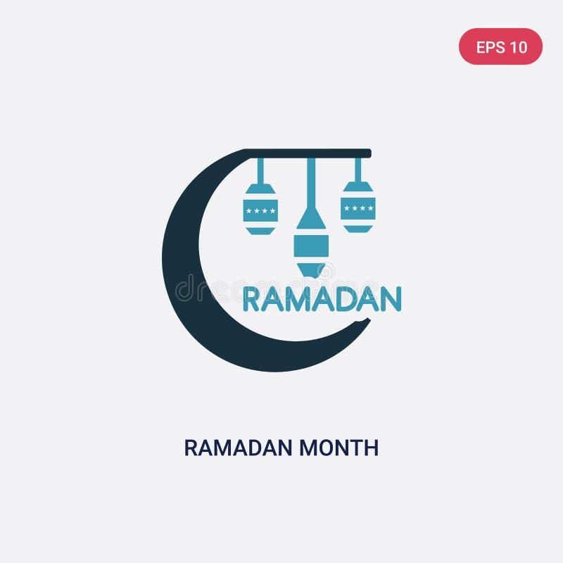 Zwei Farb-Ramadan-Monatsvektorikone vom Konzept religion-2 lokalisiertes blaues Ramadan-Monatsvektor-Zeichensymbol kann Gebrauch  vektor abbildung