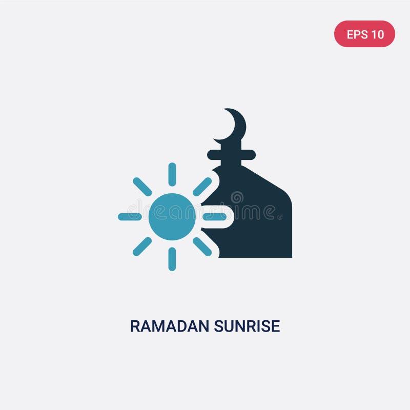 Zwei Farb-Ramadan-Sonnenaufgangvektorikone vom Konzept religion-2 lokalisiertes blaues Ramadan-Sonnenaufgangvektor-Zeichensymbol  vektor abbildung