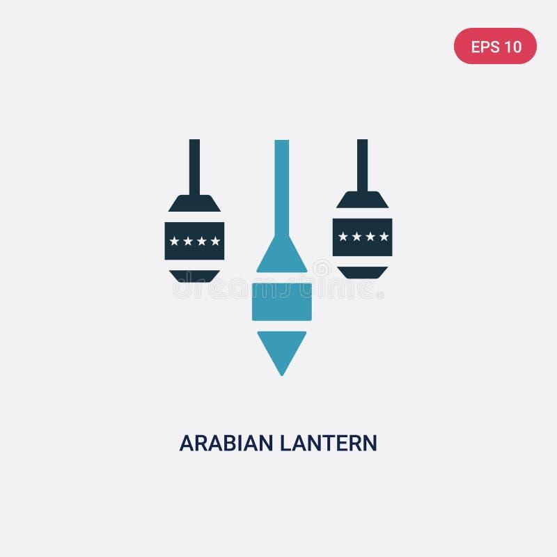 Zwei Farbarabische Laternen-Vektorikone vom Konzept religion-2 lokalisiertes blaues arabisches Laternenvektor-Zeichensymbol kann  vektor abbildung