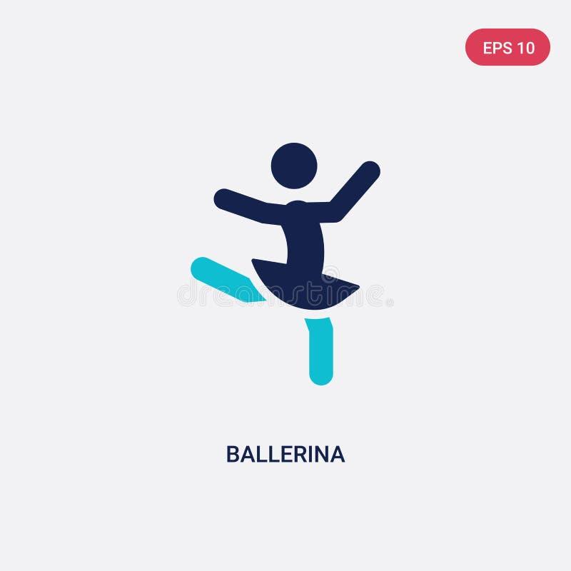 zwei Farbballerina-Vektorikone von der Tätigkeit und vom Hobbykonzept lokalisiertes blaues Ballerinavektor-Zeichensymbol kann Geb vektor abbildung