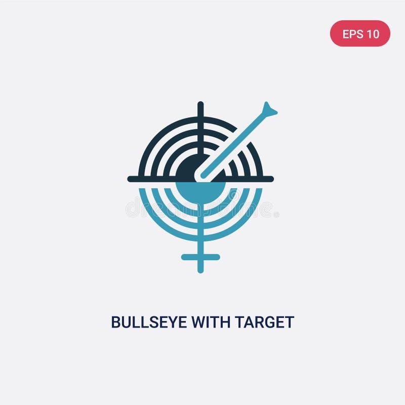 Zwei Farbbullauge mit Zielvektorikone vom Produktivitätskonzept lokalisiertes blaues Bullauge mit Zielvektor-Zeichensymbol kann s stock abbildung