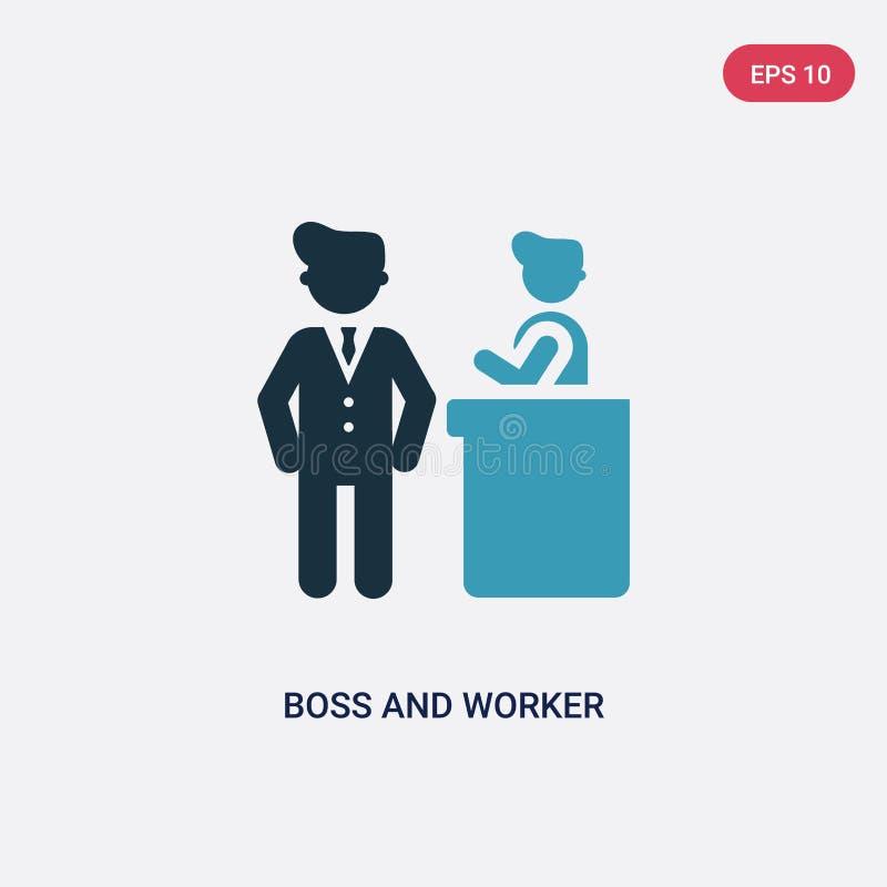 Zwei Farbchef- und -arbeitskraftvektorikone vom Leutekonzept lokalisiertes blaues Chef- und Arbeitskraftvektorzeichensymbol kann  stock abbildung