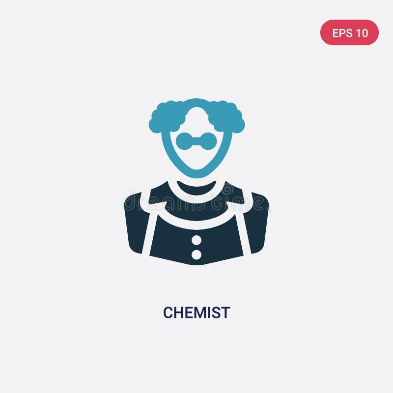 Zwei Farbchemiker-Vektorikone vom Berufkonzept lokalisiertes blaues Chemikervektor-Zeichensymbol kann der Gebrauch für Netz sein, lizenzfreie abbildung