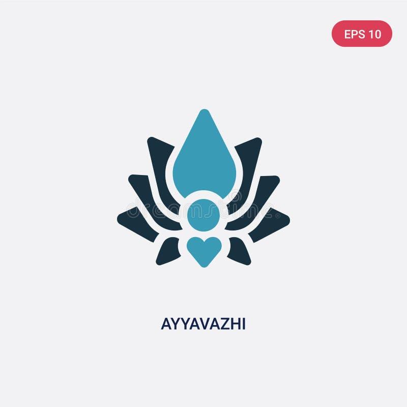 Zwei Farbe-ayyavazhi Vektorikone vom Religionskonzept lokalisiertes blaues ayyavazhi Vektor-Zeichensymbol kann der Gebrauch für N vektor abbildung