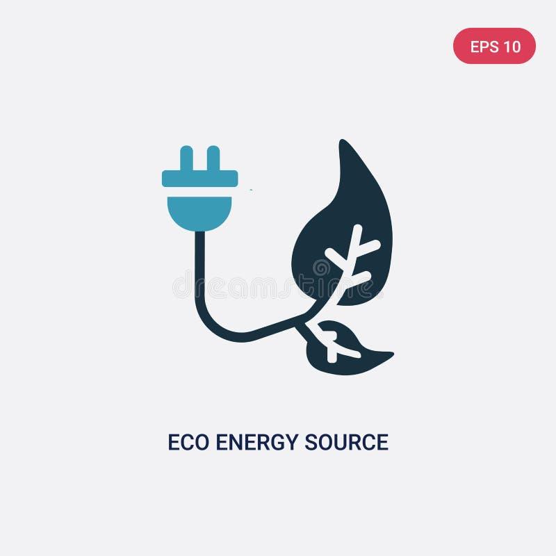 Zwei Farbe-eco Energiequellvektorikone vom Naturkonzept lokalisiertes blaues eco Energiequellvektorzeichensymbol kann Gebrauch fü vektor abbildung