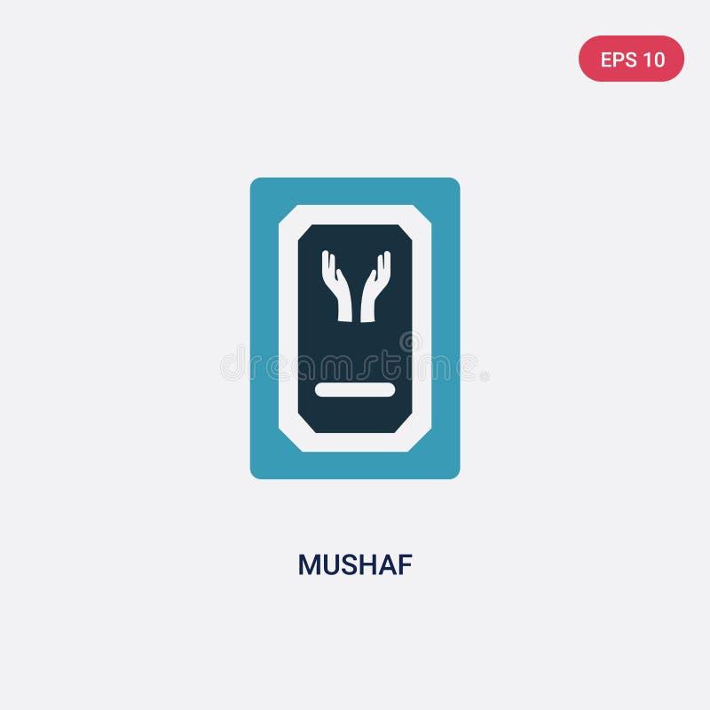 Zwei Farbe-mushaf Vektorikone vom Konzept religion-2 lokalisiertes blaues mushaf Vektor-Zeichensymbol kann Gebrauch für Netz, Mob vektor abbildung