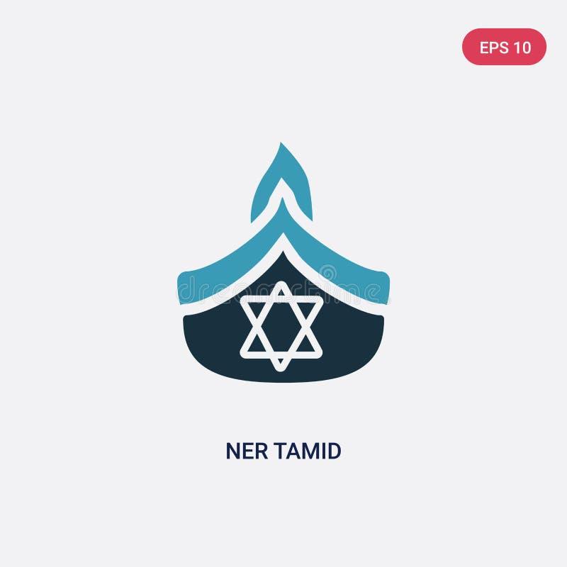 Zwei Farbe-ner tamid Vektorikone vom Konzept religion-2 lokalisiertes blaues ner tamid Vektor-Zeichensymbol kann der Gebrauch für vektor abbildung