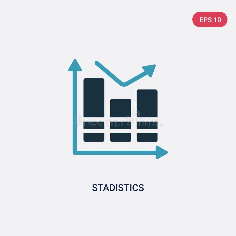 Zwei Farbe-stadistics Vektorikone vom Social Media, das Konzept vermarktet lokalisiertes blaues stadistics Vektor-Zeichensymbol k vektor abbildung