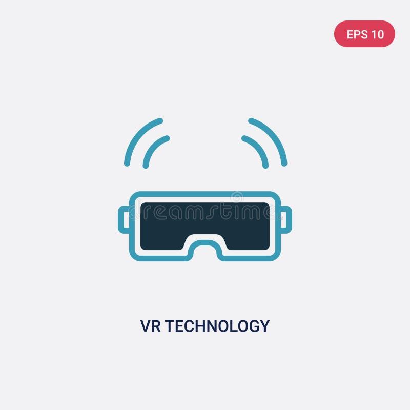 Zwei Farbe-vr Technologie-Vektorikone vom intelligenten Hauptkonzept lokalisiertes blaues vr Technologievektor-Zeichensymbol kann vektor abbildung
