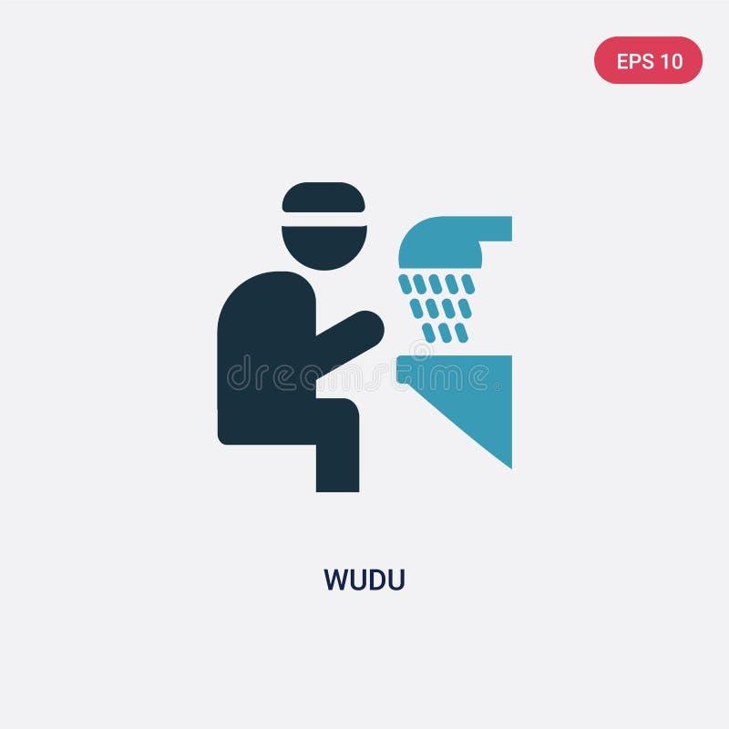 Zwei Farbe-wudu Vektorikone vom Konzept religion-2 lokalisiertes blaues wudu Vektor-Zeichensymbol kann Gebrauch für Netz, Mobile  stock abbildung
