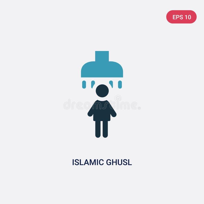Zwei Farbeislamische ghusl Vektorikone vom Konzept religion-2 lokalisiertes blaues islamisches ghusl Vektor-Zeichensymbol kann Ge stock abbildung