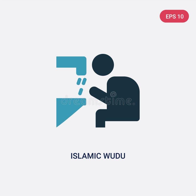 Zwei Farbeislamische wudu Vektorikone vom Konzept religion-2 lokalisiertes blaues islamisches wudu Vektor-Zeichensymbol kann Gebr vektor abbildung