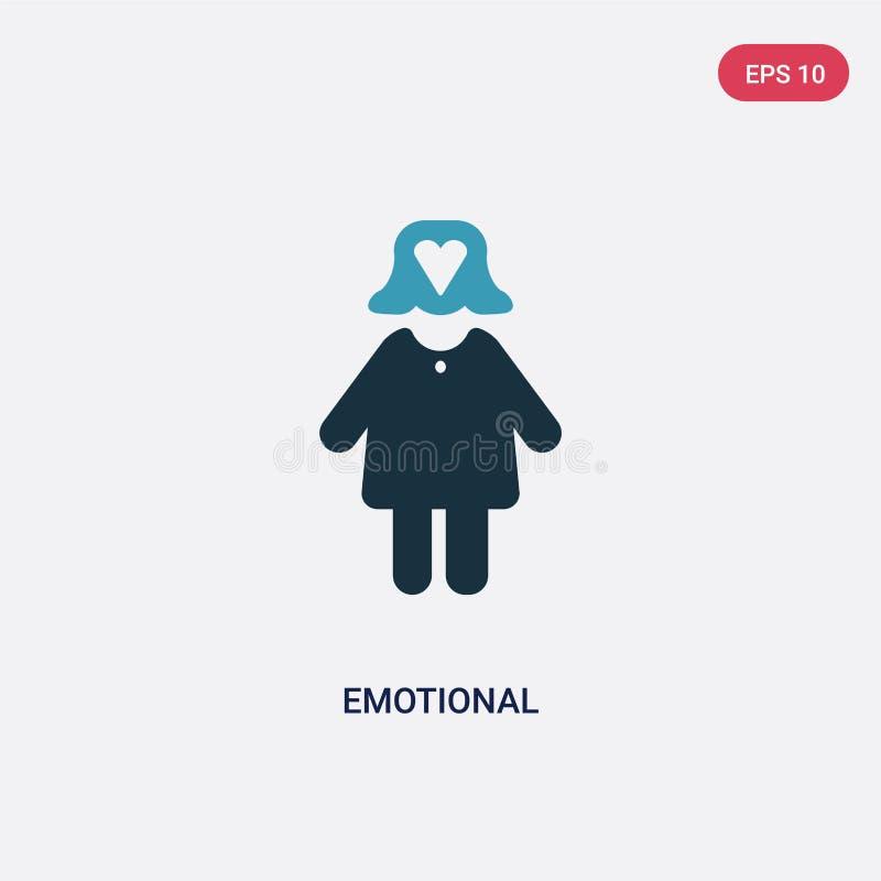 Zwei Farbemotionale Vektorikone vom Leutekonzept lokalisiertes blaues emotionales Vektorzeichensymbol kann der Gebrauch für Netz  stock abbildung