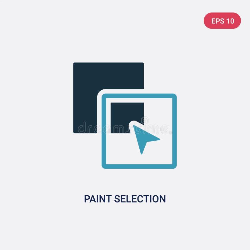 Zwei Farbfarbenauswahl-Vektorikone vom Formkonzept lokalisiertes blaues Farbenauswahlvektor-Zeichensymbol kann Gebrauch für Netz  lizenzfreie abbildung