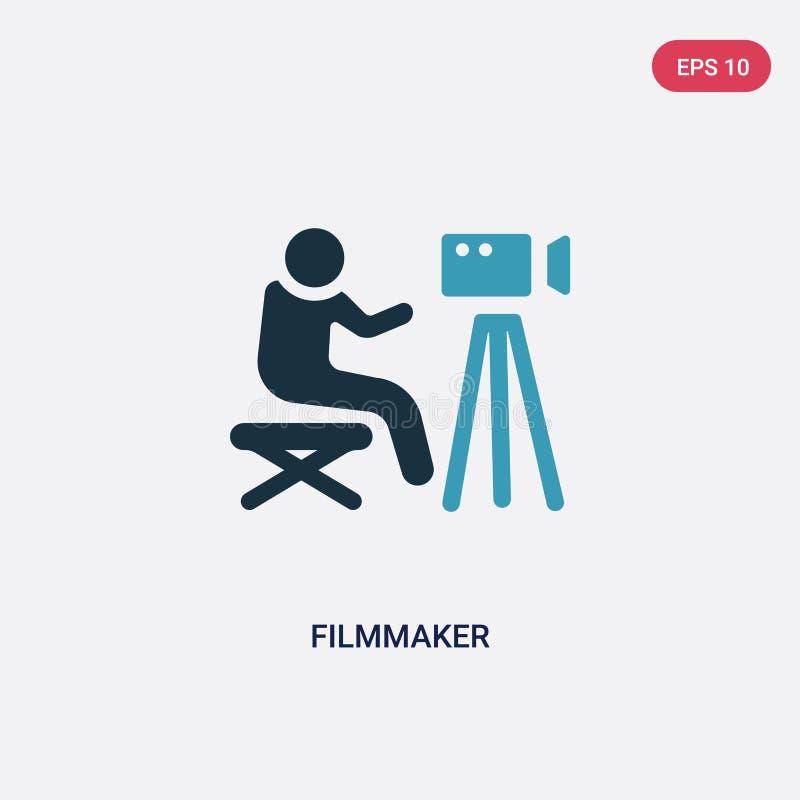 Zwei Farbfilmemacher-Vektorikone vom Leutefähigkeitskonzept lokalisiertes blaues Filmemachervektor-Zeichensymbol kann Gebrauch fü vektor abbildung