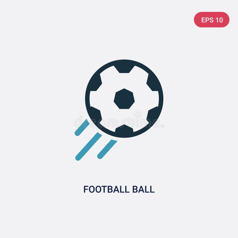 Zwei Farbfu?ballball-Vektorikone vom Sportkonzept lokalisiertes blaues Fu?ballballvektor-Zeichensymbol kann Gebrauch f?r Netz, Mo lizenzfreie abbildung
