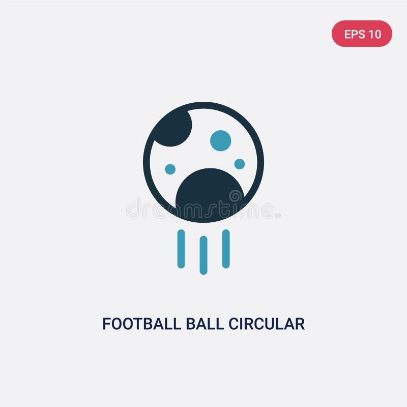 Zwei Farbfu?ballballkreisvektorikone vom Sportkonzept lokalisiertes vektor-Zeichensymbol des blauen Fu?ballballs Kreiskann sein stock abbildung