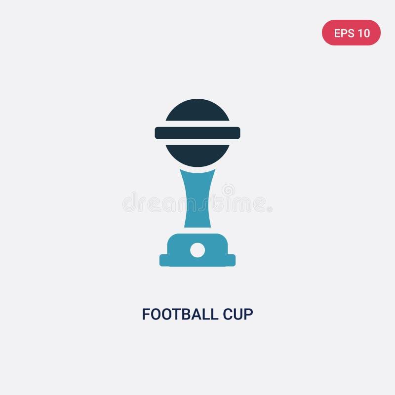 Zwei Farbfußballcup-Vektorikone vom Sport und vom Wettbewerbskonzept lokalisiertes blaues Fußballcupvektor-Zeichensymbol kann Geb vektor abbildung