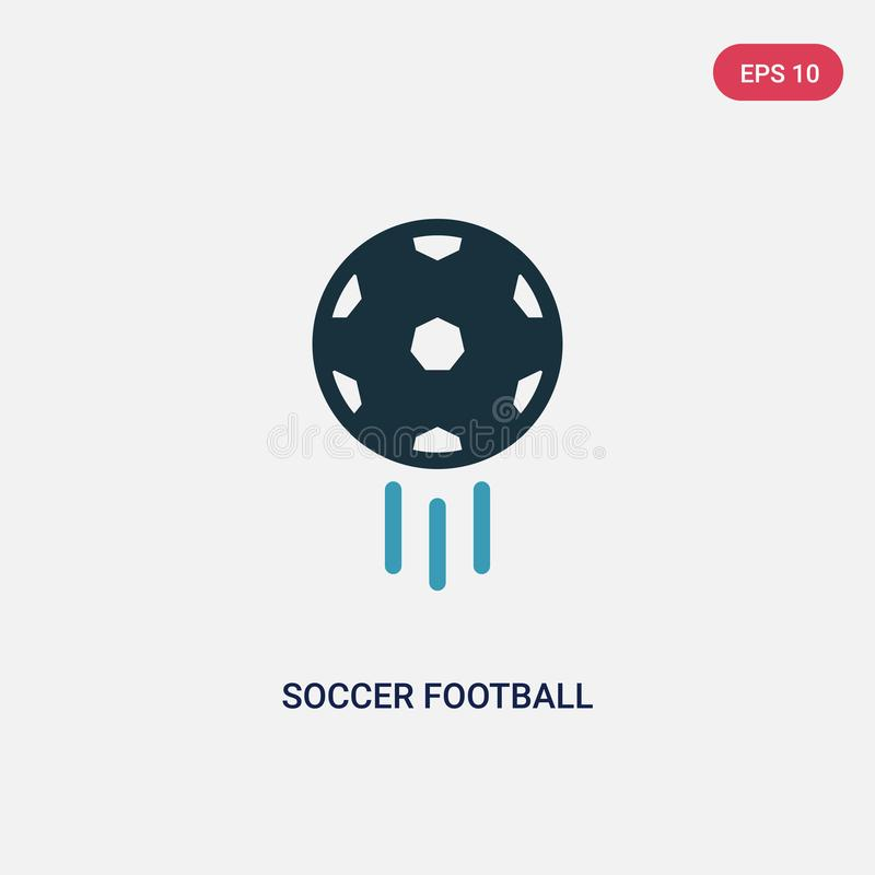 Zwei Farbfu?ballfu?ballball-Vektorikone vom Sportkonzept lokalisiertes blaues Fu?ballfu?ballballvektor-Zeichensymbol kann Gebrauc lizenzfreie abbildung