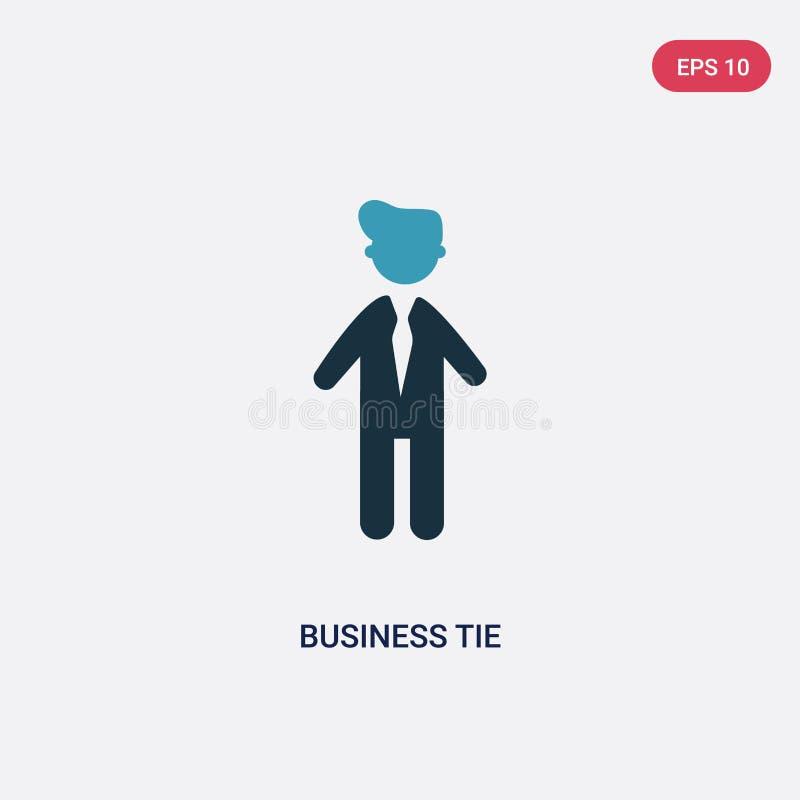 Zwei Farbgeschäftsbindungs-Vektorikone vom Leutekonzept lokalisiertes blaues Geschäftsbindungsvektor-Zeichensymbol kann Gebrauch  lizenzfreie abbildung