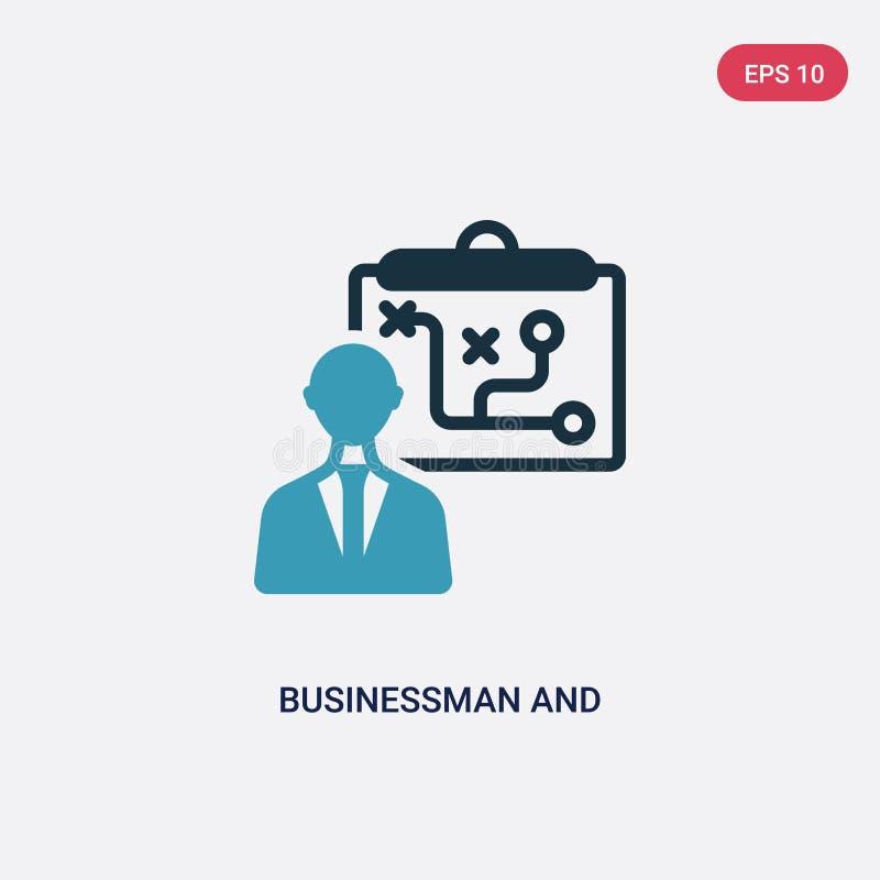 Zwei Farbgeschäftsmann und Taktikvektorikone vom Produktivitätskonzept lokalisiertes blaues Geschäftsmann- und Taktikvektorzeiche stock abbildung