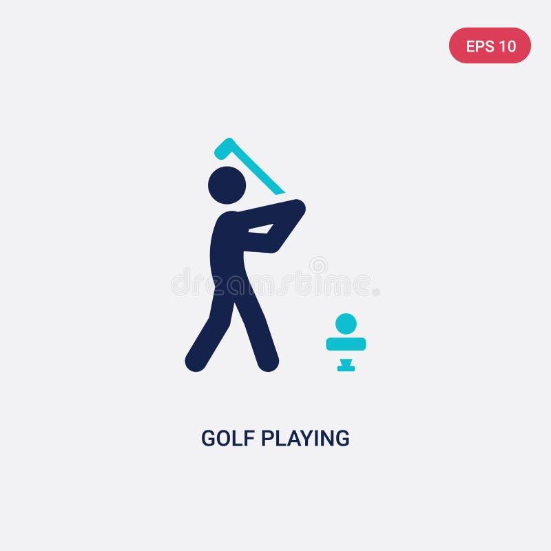 zwei Farbgolf, das Vektorikone von der Tätigkeit und vom Hobbykonzept spielt das lokalisierte blaue Golf, das Vektorzeichensymbol stock abbildung