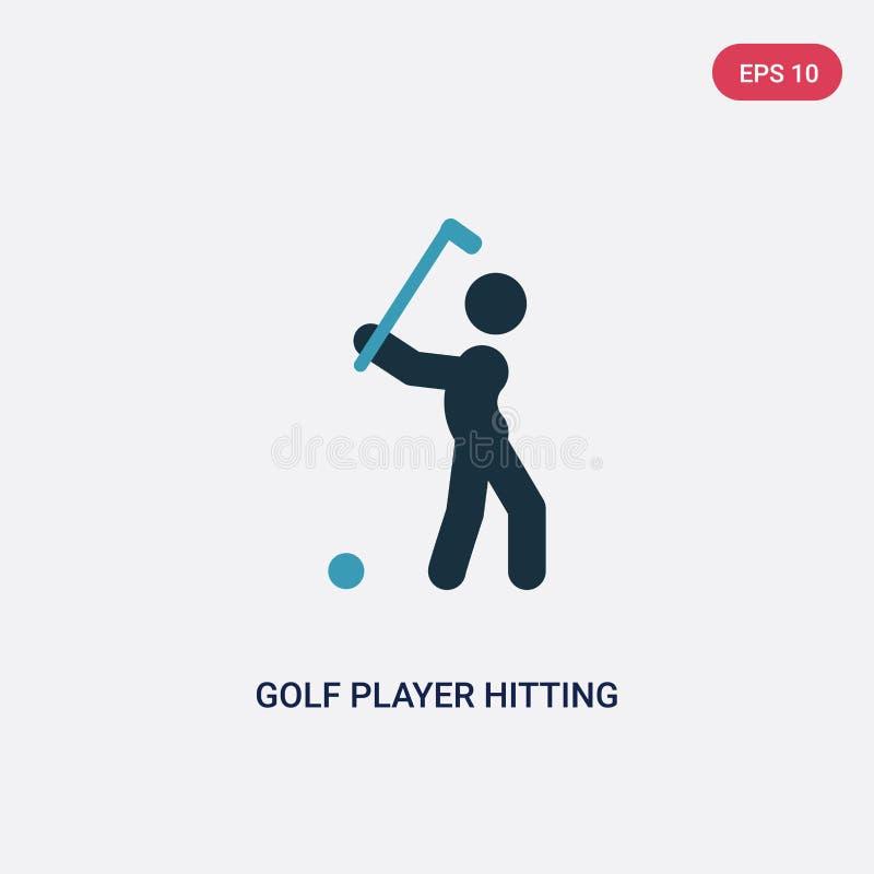 Zwei Farbgolfspieler, der Vektorikone vom Sportkonzept schlägt der lokalisierte blaue Golfspieler, der Vektorzeichensymbol schläg vektor abbildung