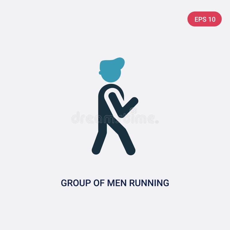 Zwei Farbgruppe der laufenden Vektorikone der Männer vom Leutekonzept lokalisierte blaue Gruppe Vektor-Zeichensymbols der Männer  lizenzfreie abbildung