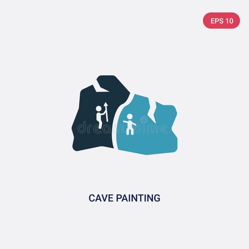 Zwei Farbhöhlenmalerei-Vektorikone vom Steinzeitalterkonzept lokalisiertes blaues Höhlenmalereivektor-Zeichensymbol kann Gebrauch lizenzfreie abbildung