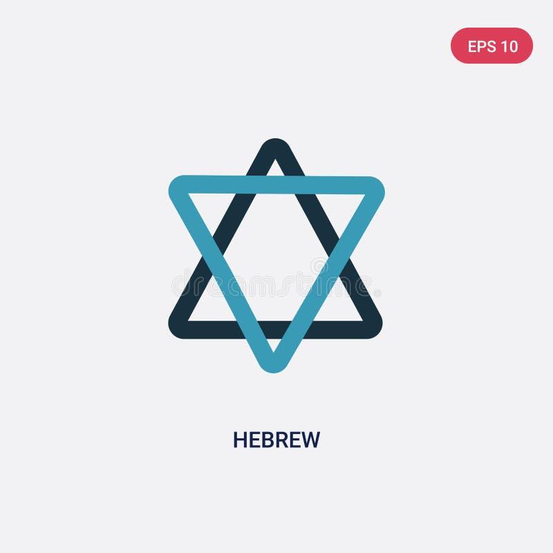Zwei Farbhebräer-Vektorikone vom Konzept religion-2 lokalisiertes blaues hebräisches Vektorzeichensymbol kann Gebrauch für Netz,  vektor abbildung